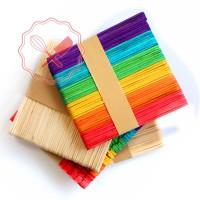 Palitos Helado Colores / Natural (50 u) 11.4 x 1cm